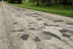 lappad dåligt roadwork Fotografering för Bildbyråer