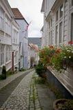 Lappad gata i Bergen Norway Royaltyfri Bild