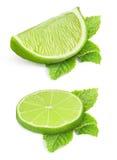Lappar av limefrukt arkivbilder