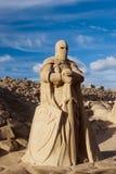 Lappeenranta, Финляндия 15-ое августа 2016: Knight скульптура песка на средних возрастах, на песочном фестивале скульптуры в Lapp Стоковая Фотография
