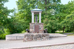 Lappeenranta, Finland. Log Monument. LAPPEENRANTA, FINLAND - JUNE 15, 2016: Log Monument. Monument of the battle of Villmanstrand (Lappeenranta) 1741 on stock image