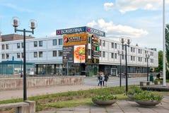 Lappeenranta. Finland. People near Isokristiina Shopping Center Royalty Free Stock Photo