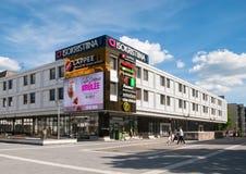 Lappeenranta. Finland. People near Isokristiina Shopping Center Stock Photo
