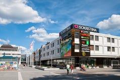 Lappeenranta. Finland. People near Isokristiina Shopping Center Royalty Free Stock Photos