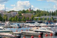 Lappeenranta Finlandia Łodzie i jachty na Saimaa jeziorze Obraz Royalty Free