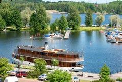 Lappeenranta Finlandia Łodzie na Saima jeziorze Obraz Stock