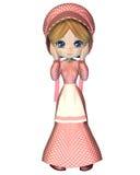 Lappen-Puppe im rosafarbenen Gingham-Kleid und der Mütze Stockbilder