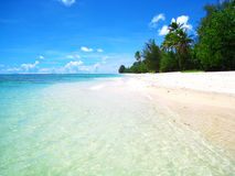 Lapping tide on a perfect beach. Crystal water lapping up on a white sand beach with green trees in the background. Taken on the island of Rarotonga, in the Cook Royalty Free Stock Photography