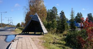 Lappish bus station. A bus station in Lapland by Santa Claus village shaped like a sami / lappish tepee Royalty Free Stock Images
