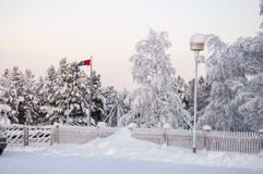 Lappish flag in snow Stock Photos