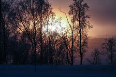 Lappish-Landschaft bei Sonnenuntergang Stockfotos