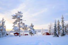 Lappland-Winterlandschaft Schweden Stockfoto