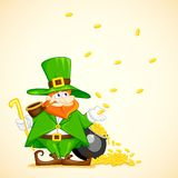 Laprachun with Pot of Gold Coin. Easy to edit vector illustration of Laprachun with pot of gold coin vector illustration