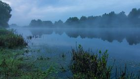 Laps de temps brumeux de paysage de lever de soleil au-dessus de l'eau de la rivière de Desna en Ukraine banque de vidéos