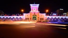 Laps de temps de Ben Thanh Market la nuit - Ho Chi Minh City Vietnam banque de vidéos
