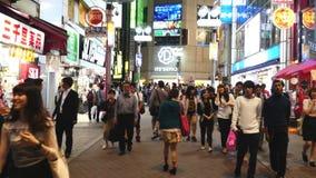 Laps de temps de la soirée occupée de secteur d'achats de Shibuya - Tokyo Japon banque de vidéos