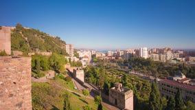 Laps de temps de la vue 4k d'arène de château d'alcazaba de lumière du soleil de l'Espagne Malaga banque de vidéos