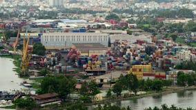 Laps de temps de port occupé de récipient d'expédition en Ho Chi Minh City (Saigon) clips vidéos