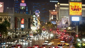 Laps de temps des casinos de bande de Las Vegas la nuit banque de vidéos