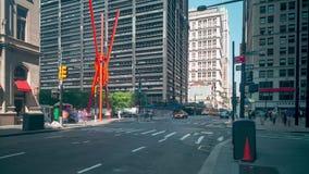 Laps de temps financier de district joie de vivre 4k de lumière de jour de New York banque de vidéos