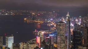 Laps de temps de scène de nuit de district des affaires de ville de Hong Kong banque de vidéos