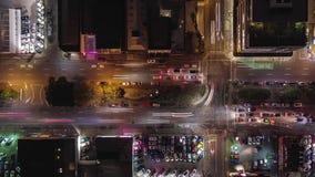 Lapso de tempo aéreo do tráfego de cidade video estoque