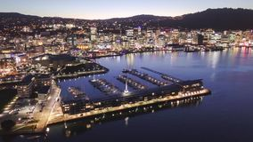 Lapso de tempo aéreo, Wellington Harbor New Zealand vídeos de arquivo