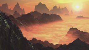 Lapso de tempo As raias de Sun passam através das nuvens sobre as montanhas video estoque