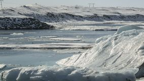 Lapso de tempo de blocos de gelo na lagoa Jokulsarlon da geleira, Islândia video estoque