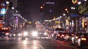 Lapso de tempo da avenida de Hollywood na noite