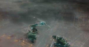 Lapso de tempo da cidade sob as nuvens, laço video da noite filme