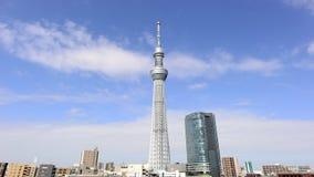 Lapso de tempo da torre de Skytree no Tóquio Japão filme