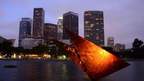 Lapso de tempo de Los Angeles do centro cênico no dia à noite video estoque