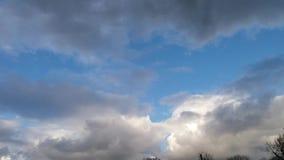 Lapso de tempo do céu azul com as nuvens brancas e cinzentas e as algumas árvores vídeos de arquivo