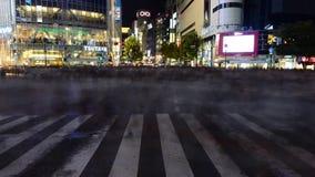 Lapso de tempo do cruzamento ocupado da precipitação de Shibuya na noite no Tóquio Japão video estoque