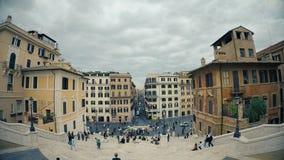 Lapso de tempo espanhol famoso Italia do panorama 4k da arquitetura da cidade do balcão das etapas do dia da cidade de Roma filme