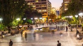 lapso de tempo 4k no quadrado do syntagma, dia à noite filme