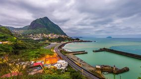 Lapso de tempo litoral de Jiufen Taiwan