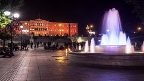 Lapso de tempo quadrado do Syntagma com cor alaranjada do parlamento video estoque