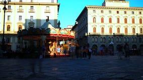 Lapso de tempo de um carrossel, Florença video estoque