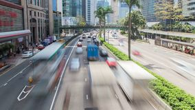 Lapso de tempo urbano China do tráfego ocupado de Hong Kong Zumbido para fora vídeos de arquivo