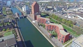 Lapso de tiempo aéreo del puerto interno de Duisburgo almacen de video
