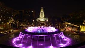 Lapso de tiempo ayuntamiento Los Ángeles y de la noche de la fuente almacen de video