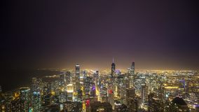 Lapso de tiempo de Chicago durante una tormenta del relámpago metrajes