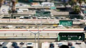 Lapso de tiempo de la autopista sin peaje céntrica ocupada - Los Ángeles metrajes