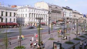 Lapso de tiempo de la avenida de Nevsky en St Petersburg almacen de metraje de vídeo