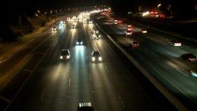 Lapso de tiempo de la carretera ocupada en la noche, Los Ángeles almacen de metraje de vídeo