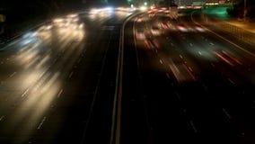 Lapso de tiempo de la carretera ocupada en la noche, Los Ángeles metrajes