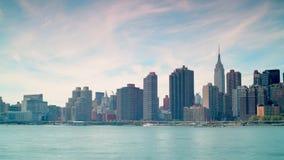 Lapso de tiempo de la opinión 4k del panorama de Manhattan del parque de estado de la plaza del pórtico de los E.E.U.U. almacen de metraje de vídeo