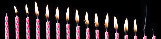 Lapso de tiempo de la vela del cumpleaños Imagenes de archivo